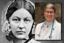Florence Nightingale and inset photo of Marie Romagnano, MSN, RN